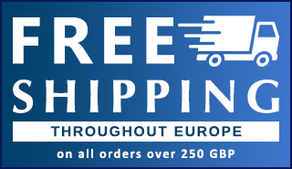 Free shipping on orders over 250 GBP throughout Europe