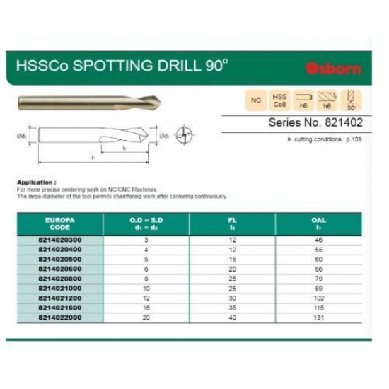 3mm HSSCo8 90 Degree NC Spot Spotting Drill